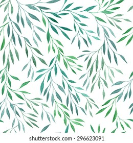 Seamless vector floral pattern. Watercolor handdrawn background with laurels, leaves and branches. Spring or summer design for invitation, wedding or greeting cards.