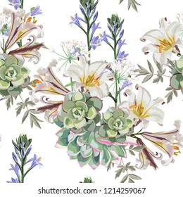 Seamless vector floral pattern. White royal lilies flowers, herbs and succulent on white background.
