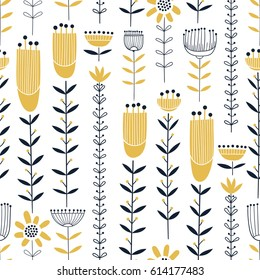 Seamless vector floral pattern with yellow flowers