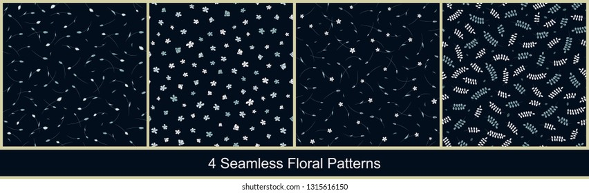 Seamless vector floral patterns with abstract small flowers and leaves in monochrome blue colors on black background. Collection of ditsy prints for fabric, textile, or wallpaper design
