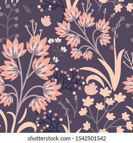 Seamless vector floral print. Decorative vintage pattern in classic style with flowers and twigs. Two tone ornament with different plants on smoky violet background. Aristocratic muted color palette.