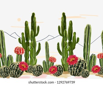 Seamless vector floral summer horizontal tropical pattern background with blooming cactus,succulents, mountains.Perfect for wallpapers, web pages, surface textures,textile.Isolated on white background