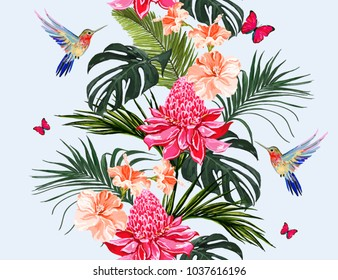 Seamless vector floral summer pattern background with hummingbird, palm leaves, butterflies, tropical flowers, heliconia, hibiscus. Perfect for wallpapers, web page backgrounds,  textures, textile