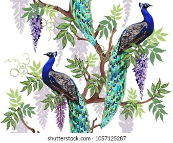 Seamless vector floral summer pattern background with tropical japanese flowers, wisteria, peacocks. Perfect for wallpapers, web page backgrounds, surface textures, textile.