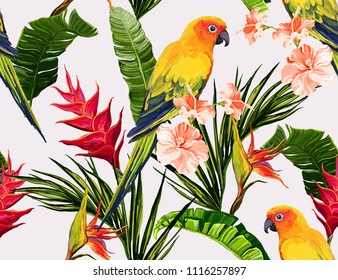 Seamless vector floral summer pattern background with tropical palm leaves, parrot ara, heliconia, bird of paradise, hibiscus. Perfect for wallpapers, web page backgrounds, surface textures