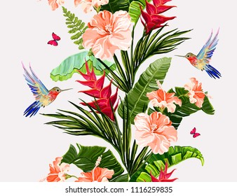 Seamless vector floral summer pattern background with hummingbird  coconut banana palm leaves, butterflies,heliconia, hibiscus. orchid.  Perfect for wallpapers, web page backgrounds, textures, textile