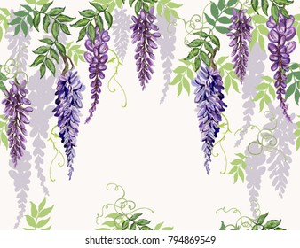Seamless vector floral summer pattern background with tropical japanese flowers, wisteria. Perfect for wallpapers, web page backgrounds, surface textures, textile.