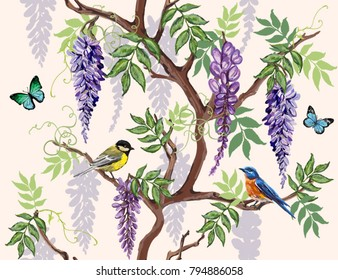 Seamless vector floral summer pattern background with tropical japanese flowers, birds, butterflies, wisteria. Perfect for wallpapers, web page backgrounds, surface textures, textile.