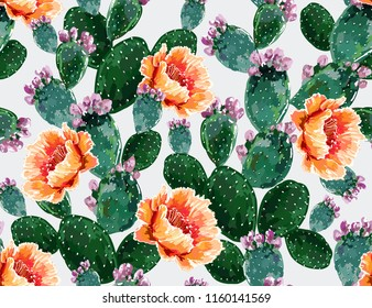 Seamless vector floral summer tropical pattern background with blooming cactuses,succulents. Perfect for wallpapers, web page backgrounds, surface textures,textile. Isolated on white background