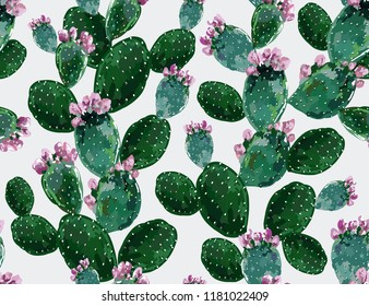 Seamless vector floral summer tropical pattern background with blooming cactuses. Perfect for wallpapers, web page backgrounds, surface textures,textile. Isolated on white background