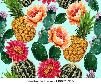 Seamless vector floral summer tropical pattern background with blooming cactus, succulents, pineapple. Perfect for wallpapers, web pages, surface textures,textile.Isolated on white  background
