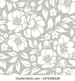 Seamless vector floral wallpaper. Decorative vintage pattern with flowers and twigs. White peony silhouette on gray background