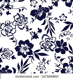 Seamless vector flowers pattern in navy color. flat flowers pattern for fashion and home textiles.