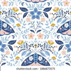 Seamless vector folk art pattern, moths and flowers