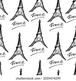 Seamless vector French pattern of hand drawn ink Eifel tower on white background. Fashion, wallpaper, journaling, logo, design, brand concept