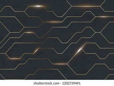 Seamless vector futuristic dark iron techno texture. Golden abstract electron energy line on brushed black metal background. Power vein light tech pattern.