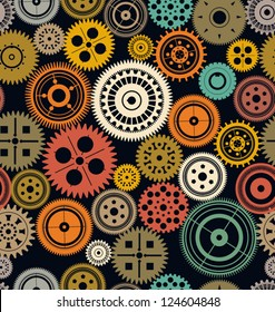 Seamless vector gear and cogwheel retro color background