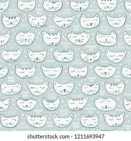 Seamless Vector Gender Neutral Baby Nursery Decor Sleepy Kitty Cat Characters in Pastel Turquoise & Gray. Great for wallpaper, cat lovers, fabric, home decor, paper crafting, and stationery.