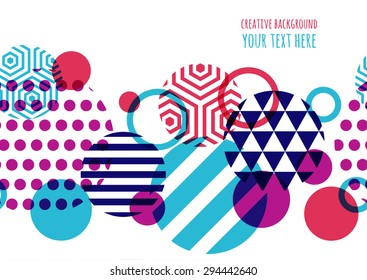 Seamless vector geometric background with place for text. Abstract creative concept for flyer, invitation, greeting card, poster design. Circle multicolor overlapping pattern.