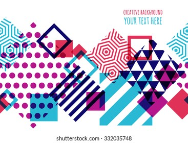 Seamless vector geometric background with place for text. Abstract creative concept for flyer, invitation, greeting card, poster design. Square pattern in purple, red and blue overlapping colors.