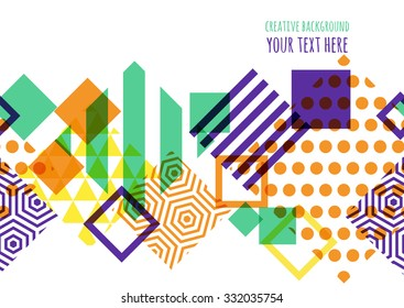 Seamless vector geometric background with place for text. Abstract creative concept for flyer, invitation, greeting card, poster design. Square pattern in purple, green, orange colors.