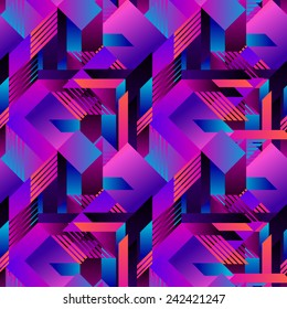 seamless vector geometric futuristic pattern with gradients.