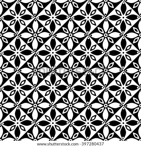 Seamless Vector Geometric Pattern Flowers Black Stock Vector Enchanting Free Vector Geometric Patterns