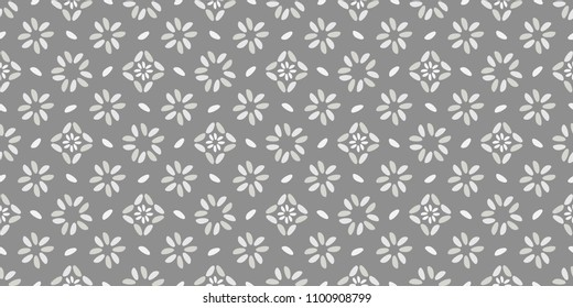 Seamless vector geometric pattern with rice grain on gray background.