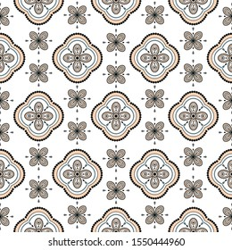 Seamless vector geometric rosette pattern background. Floral geometric shapes print texture for fabric.