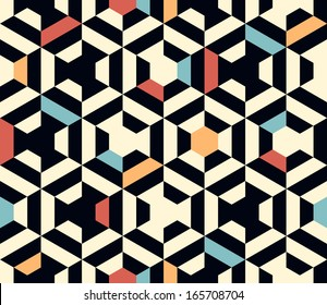 Seamless vector geometric strip pattern background