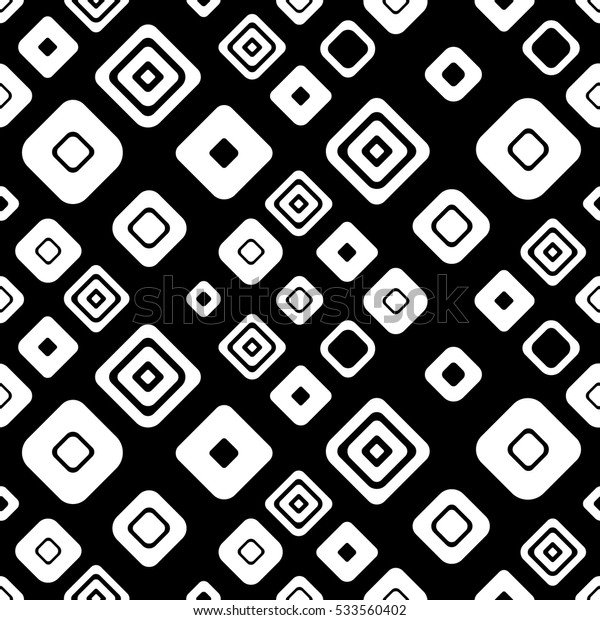 Seamless vector geometrical pattern. Black, white endless background with hand drawn ornamental squares. Graphic vector illustration with ethnic motifs. repeat Template for cover, fabric, wrapping..