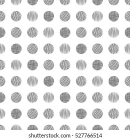 Seamless vector  geometrical pattern with circle. Grey  endless background with  hand drawn textured geometric figures. Graphic vector  illustration Template for wrapping, web backgrounds, wallpaper.