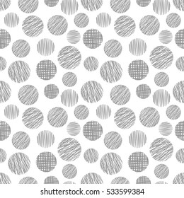 Seamless vector  geometrical pattern with circle Grey pastel  endless background with  hand drawn textured geometric figures Graphic  illustration Template for wrapping, web backgrounds, wallpaper.