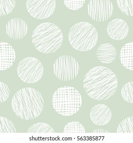 Seamless vector geometrical pattern with circle. Green pastel endless background with hand drawn textured geometric figures. Graphic illustration Template for wrapping, web backgrounds, wallpaper.