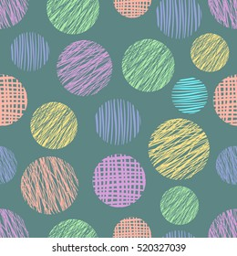 Seamless vector  geometrical pattern with circles. Blue pastel endless background with  hand drawn textured geometric  colorful figures. Graphic vector illustration.