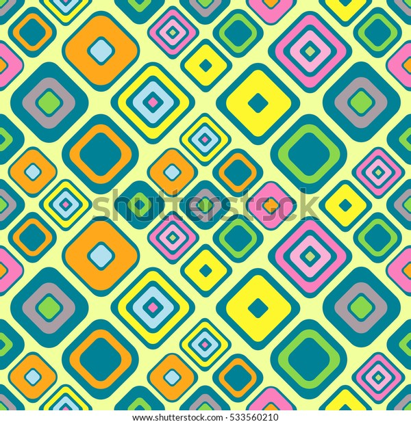 Seamless vector geometrical pattern Endless background with hand drawn ornamental squares Green, blue, yellow Graphic vector illustration with ethnic motifs repeat Template for cover fabric, wrapping