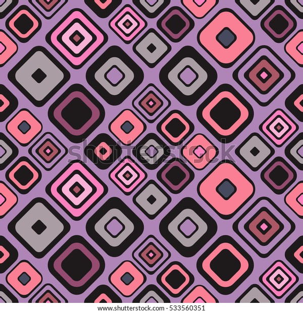 Seamless vector geometrical pattern. Endless background with hand drawn ornamental squares. Pink Graphic vector illustration with ethnic motifs. repeat Template for cover, fabric, wrapping..