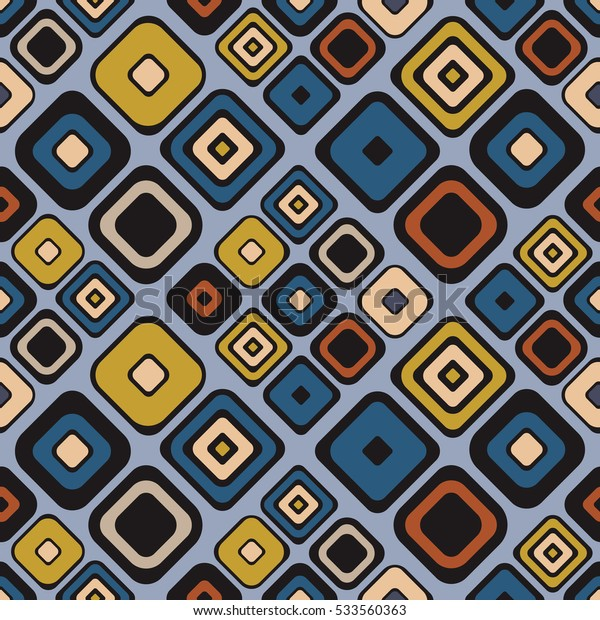 Seamless vector geometrical pattern. Endless background with hand drawn ornamental squares. Blue Graphic vector illustration with ethnic motifs. repeat vintage Template for cover, fabric, wrapping..
