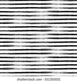 Seamless vector geometrical pattern with hand drawn lines. Endless black and white background with horizontal stripes