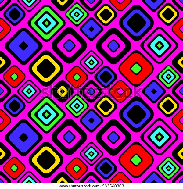 Seamless vector geometrical pattern. Pink Endless background with hand drawn ornamental squares. Graphic vector illustration with ethnic motifs. repeat Template for cover, fabric, wrapping..