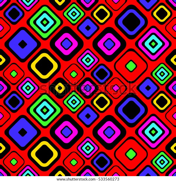 Seamless vector geometrical pattern. Red Endless background with hand drawn ornamental squares. Graphic vector illustration with ethnic motifs. repeat Template for cover, fabric, wrapping..