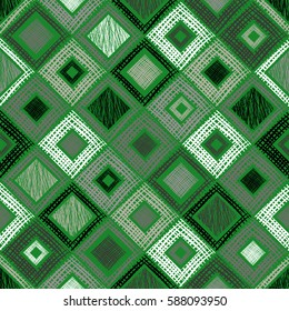 Seamless vector geometrical pattern with rhombus, squares, rectangles endless background with hand drawn textured geometric figures. Pastel Graphic illustration Template for wrapping, web backgrounds.