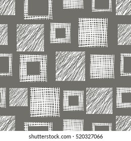 Seamless vector  geometrical pattern with squares. Grey endless background with  hand drawn textured geometric figures. Graphic vector illustration.