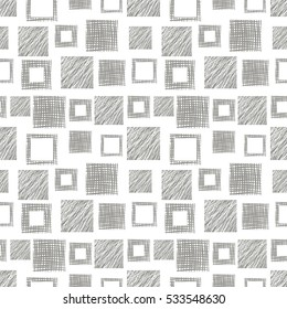 Seamless vector  geometrical pattern with squares. Grey endless background with  hand drawn textured geometric figures. Graphic  illustration Template for wrapping, web backgrounds, wallpaper..