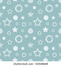 Seamless vector  geometrical pattern with stars, circles. Blue endless background with  hand drawn textured geometric figures. Graphic  illustration Template for wrapping, web backgrounds, wallpaper..