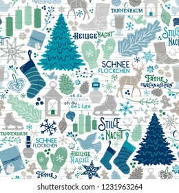 Seamless Vector German Christmas Holiday Traditions in Teal, Green, Navy on Shiplap Wood Planks. Great for wrapping paper, backgrounds, paper crafting, textiles, home decor, parties, invitations.