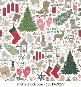 Seamless Vector German Christmas Holiday Traditions in Red, Green, Brown on Shiplap Wood Planks. Great for wrapping paper, backgrounds, paper crafting, textiles, home decor, parties, invitations.