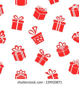 Seamless vector Gift pattern, red gift boxes on white background
