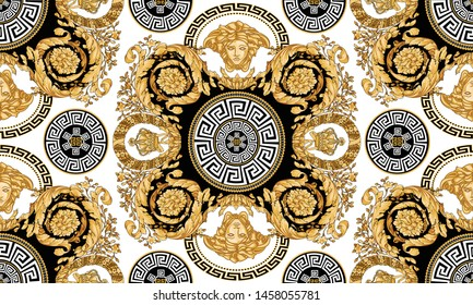 Seamless Vector Golden Baroque Fashionable pattern in ancient vintage style with greek keyed circle, medusa,black-white background. Will tile endlessly. Pattern for textile, design and backgrounds.