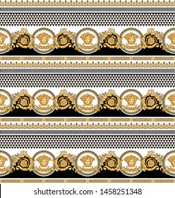 Seamless Vector Golden Baroque Fashionable pattern in vintage style with medusa head, black-white triangle checkered background. Pattern for textile, scarves, design and backgrounds.